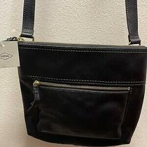 Nwt Fossil Voyager Crossbody Bag Small Black Leather Purse Photo