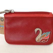 Nwt Fossil Wallet Coin Purse Genuine Leather Red Swan Photo