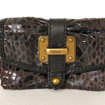 Nwt Fossil Wallet  Genuine Leather Logo Dark Brown & Black Photo