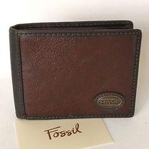 Nwt Fossil Wallet Mens Logo Dark Brown  Photo