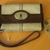 Nwt Fossil Wallet Wrist W/phone Holder Leather Msrp 45 Photo