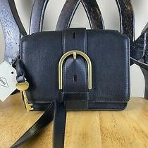 Nwt Fossil Wiley Black Leather Crossbody Bag Small Travel Night Out Purse New Photo