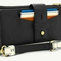 Nwt Fossil Women's Willa Slim Tab Black Leather Wristlet & Card Case 98 Photo