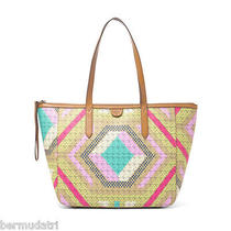 Nwt Fossil Zb5491 Sydney Shopper Tote Multi-Color Brights -Pvc W/ Leather Trim  Photo