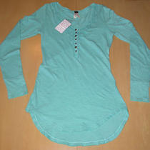 Nwt Free People 100% Cotton Crochet Henley Top Shirt Aqua Sea Glass Womens Sz L Photo