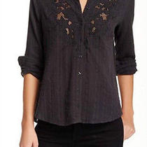 Nwt Free People Carter Dobby Embroidered Shirt in Graphite 108 - S Photo
