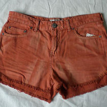Nwt Free People Cut-Off Denim Shorts Fray Dolphin Hem Bleached Dye Copper 28 6 S Photo