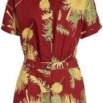 Nwt Free People Malibu Romper Red Maroon  Multi Bold Edgy Print Pockets Sz Xs Photo