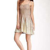 Nwt Free People Ombre Foil Dress Champagne Combo--M Photo