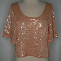 Nwt Free People Orange All Over Sequin Open Back Half Shirt Top Womens M Photo