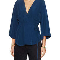 Nwt Free People Piano Wrap Top v-Neck Dolman Sleeves Women's Xs Blue Photo