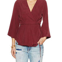 Nwt Free People Piano Wrap Top v-Neck Dolman Sleeves Women's Xs Red Photo