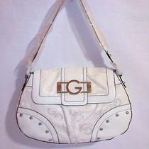 Nwt G by Guess White  G Amore  Half Flap Bag   100% Authentic  Photo