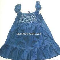 Nwt Gap Baby Girls 18-24 Months Blue Denim Dress Ruffled Chambray Sleeveless  Photo