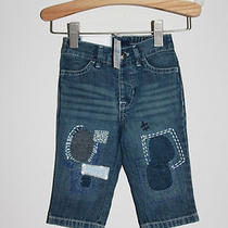 Nwt Gap Baby Porcelain Collection Patched Distressed Woodstock Jeans 6-12 Mos Photo