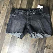 Nwt Gap Black Denim Maternity Shorts Raw Edge  Size 8 Panel Waistband Photo