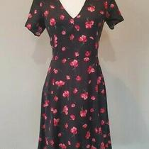 Nwt Gap Black Red Pink Cherry Blossom Floral Short Sleeve Dress Size 4 S Retro  Photo