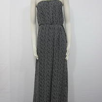 Nwt Gap Black White 98 Abstract Print Tie Waist Strapless Casual Maxi Dress S Photo