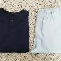 Nwt Gap Boys 2-Pc Navy Blue Long Sleeve Shirt & Light Gray Pants Pajama Set Sz 6 Photo