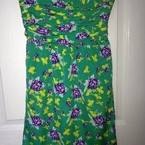 Nwt Gap Clover Green Floral Strapless Dress 4 (2) Photo