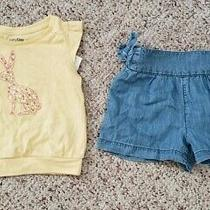 Nwt Gap Girls 2-Pc Outfit Yellow Bunny Top W/ Light Denim Chambray Shorts 18-24m Photo