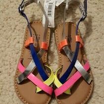 Nwt Gap Girls Neon Color Strap Strappy Sandals Flat Shoes (Reg 29.95) Sz 8 C Photo