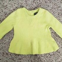 Nwt Gap Girls Neon Yellow Long Sleeve Sweater Elbow Patch Buttons on Back 0-3m  Photo