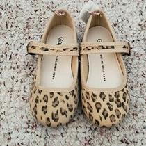 Nwt Gap Girls Tan Brown Animal Print Maryjane Flat Dress Shoes Elastic Close 9 C Photo