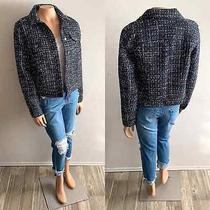 Nwt Gap Icon Navy Blue Tweed Button Front Mid-Length Jacket 128 Size S Small Photo