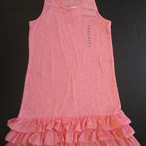 Nwt Gap Kids Girls Coral Peachy Pink Tank Top Dress W Ruffles Size Xxl 14 16 New Photo