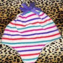 Nwt  Gap Kids  Girls Size S-M Hat White Fleece W/ Bright Colored Stripes Photo
