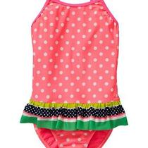 Nwt Gap Kids Pool Priorities Swim Bathing Suit Dot Ruffled 8 Medium Girls Photo