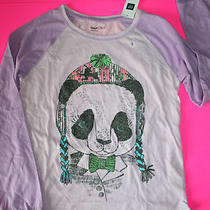 Nwt Gap Kids Raglan Graphic T Long Sleeves Medium 8 Purple Panda Bear Hat Bowtie Photo
