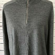 Nwt Gap Large 100% Merino Wool Pullover Long Sleeve Mens 1/4 Zip  Sweater Gray Photo
