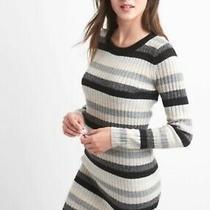 Nwt Gap M 8 10 Crazy Stripe Metallic Sweater Dress Merino Wool 925279 Ho17 Black Photo
