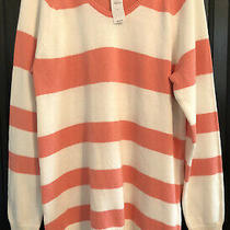 Nwt Gap Maternity Large White and Pink Coral Striped Soft Scoop Neck Sweater Photo