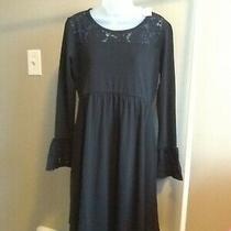 Nwt Gap Maternity Sassy Black Dress Sz S Sm 8 Lace Cuffs & Bodice Trim New Photo