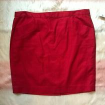 Nwt Gap Pencil Skirt Red W/ Pockets Above Knee Slit Zip Back Size 14 Photo