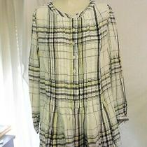 Nwt Gap Pintuck Black & White With Yellow & Pink Top Size L Photo