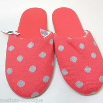 Nwt Gap Scuff Slippers Pink With Gray Polkadots Padded Insole Size 5/6 M Photo