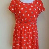 Nwt Gap Short Sleeve Red Print Dress Above Knee Floral Skirt Size 10 Photo