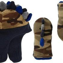 Nwt Gap Toddler Boys Olive Camo Pro Fleece Dinosaur Hat & Mittens Set S M 2 3 Photo