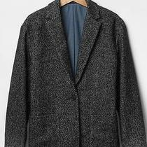 Nwt Gap Women Herringbone Blazer Jacket Coat Black White Wash Size S Photo