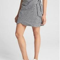 Nwt Gap Women's 10 Gingham Faux Wrap Mini Skirt Sp18 Poplin Black White (8) M Photo