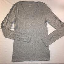 Nwt Gap Women's Modern Long-Sleeve v-Neck Tee - Heather Gray - Size L Photo