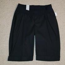 Nwt Gap Womens Maternity Solid Black Long Shorts W/ Elastic Waist Sz 2 Photo