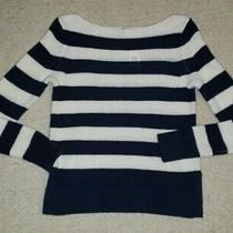 Nwt Gap Womens Navy Striped Boat Neck Knit Sweater Sz Xs Photo