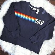 Nwt Gap Womens Sz L Rainbow Stripe Sweatshirt Raw Hem Navy Blue Free Ship Photo