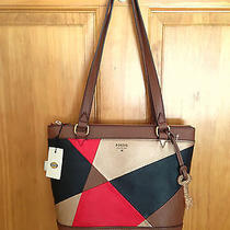 Nwt Genuine Fossil Leather Gift Shopper Purse Tote Bag Handbag Red Multi Brown Photo