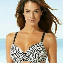 Nwt Georgous 36d Fantasie Tanzania Wrap Front Bikini Top 6020 Black / Cream New Photo